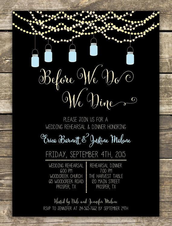 Wedding - Printed Rehearsal Dinner Invitation - Rustic Wedding Mason Jars and Sparkly Lights -  Wording can be changed