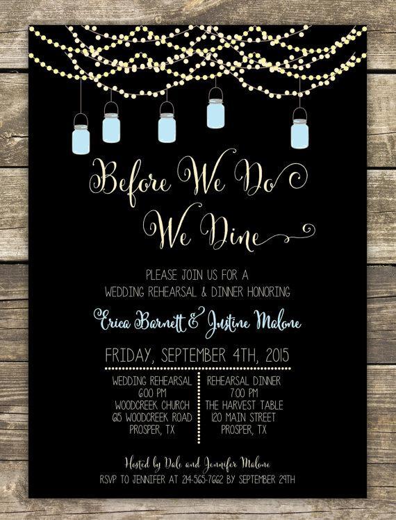 Wedding Rehearsal Dinner | Printed Rehearsal Dinner Invitation Rustic Wedding Mason Jars And