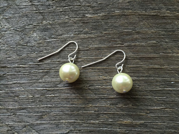 Свадьба - Ivory Pearl Earrings Single Pearl on Silver or Gold French Wire Hook - Wedding, Bridal, Birthday, Christmas Gift