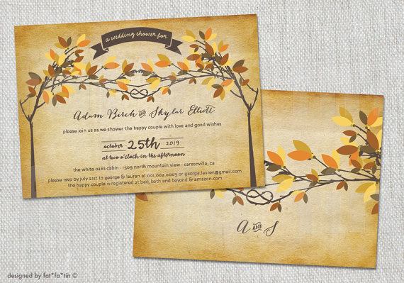 Wedding - Fall Autumn Knotted Trees Old Paper Tying The Knot Wedding Shower Invitation