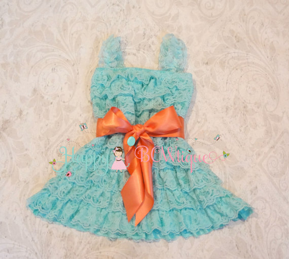 Hochzeit - Flower girl dress- Aqua Coral Bow Lace Dress, baby girl dress, Flower girl lace dress,dress,baby dress,flower girl dress,Aqua dress,Birthday