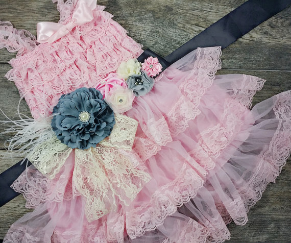 Wedding - Girls Pink Chiffon Dress With Sash // Flower Girl Dress // Toddler Holiday Dress // Attached Sash // Girls Birthday Dress // Holiday Dress