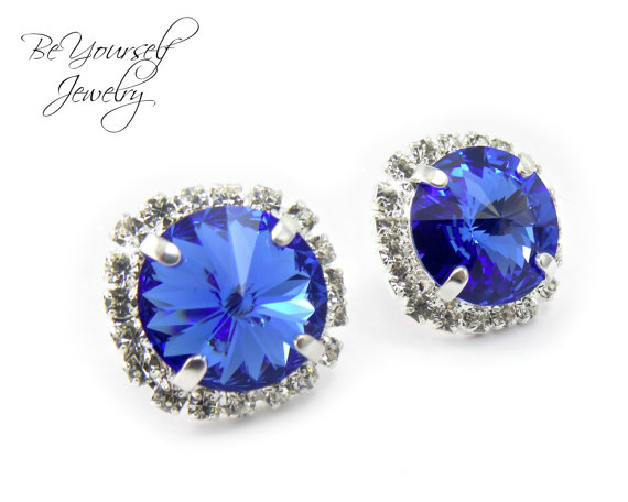 Hochzeit - Blue Earrings Sparkly Stud Earrings Swarovski Crystal Rivoli Sapphire Earrings Something Blue Bridesmaid Gift Royal Blue Wedding Jewelry