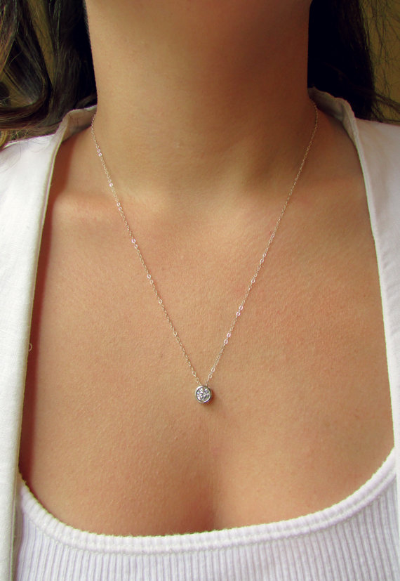 Свадьба - Floating Diamond Silver Necklace, Mother's Day, CZ Necklace, Sterling Silver Necklace, Dainty Necklace, Bridesmaid Gift, Gift for Mom
