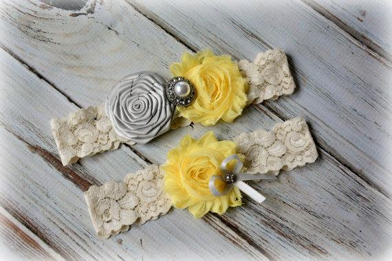 Mariage - Gray Yellow Rustic Bridal Garter Belt Wedding Set Keepsake Toss Shower Gift Farmhouse Beach Spring Ivory White Lace