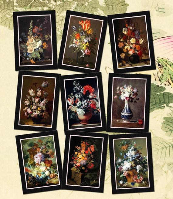 graphic about Free Printable Collage Sheets identified as Bouquets Inside of A Vase- Previous Environment Enchantment -Dangle/Reward Tag/Playing cards