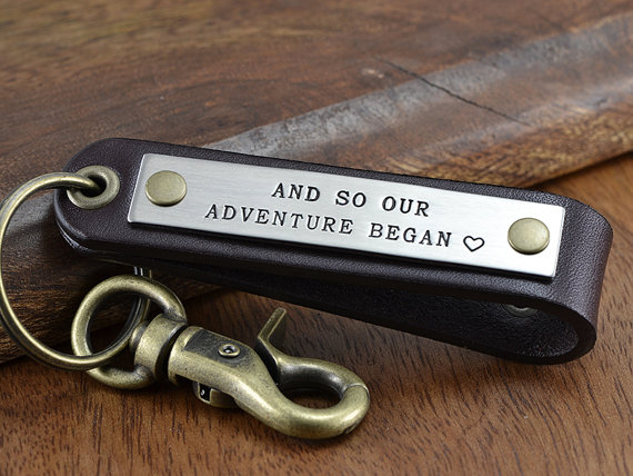 Personalized Leather Keychain Fob - Anniversary Gift For Men ...