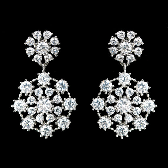 Snowflake Bridal Earrings Winter Wedding Earrings Rhinestone