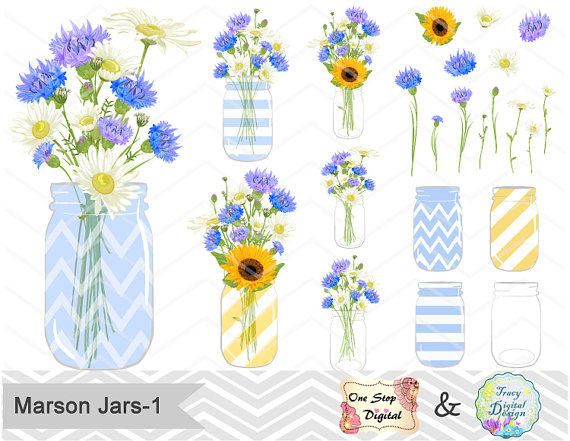 Mariage - Digital Blue Flower & Mason Jar Clip Art Blue Yellow Flower in Mason Jar Clipart Blue Wedding Clipart Wedding Invitation  0153