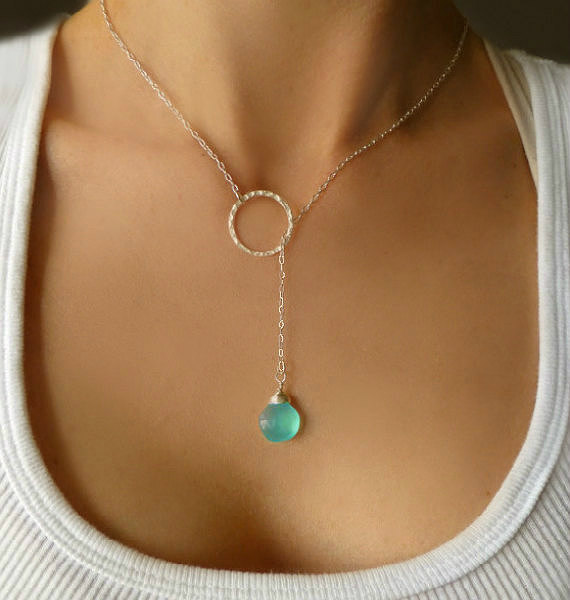silver-lariat-necklace-aqua-chalcedony-necklace-long-beaded-lariat-silver-hoop-necklace-gemstone-bridesmaid-necklace-bridal-gift.jpg (570×600)