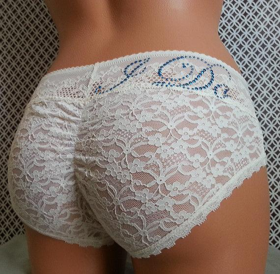 Wedding - Bridal Panties (Plus Size): Ivory Lace Cutie Booty w/ Something Blue - Customized Bridal Panties