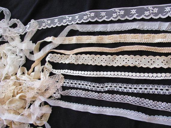 Wedding - Lace Sewing Trim Pieces Lot - Assorted Designs Patterns - 14 yards total