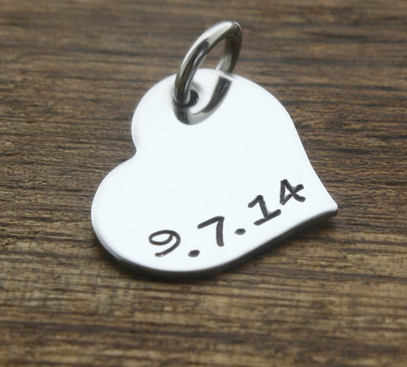 Hochzeit - Custom Date Heart Pendant, Heart Charm, Hand Stamped Pendant, Personalized Date, Stainless Steel Heart Charm, Bracelet Charm