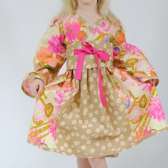 زفاف - Girls Kimono Dress, Flower Girl Dress,  Party dress, Japanese Kimono, Kimono dresses, Birthday dress, pink, size 6