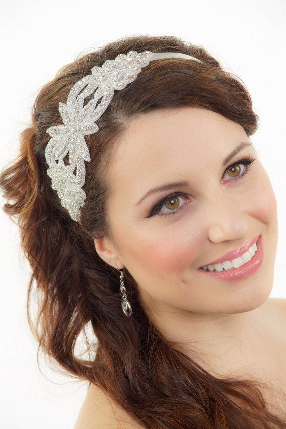 Hochzeit - Bridal Headband, Silver headband, Gatsby Art Deco Bridal Headband, Crystal Hair piece, Wedding Headband, Tiara, Bridal Hair Accessories