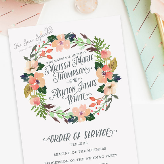 Свадьба - Printable Wedding Program - Order of Service, shabby, garden, spring, outdoor, watercolor, calligraphy, blush, peach, mint, garden, bohemian
