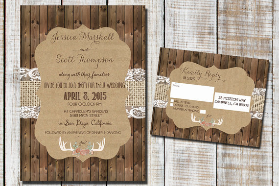 Свадьба - Wood and Lace Rustic Wedding Invitation with Antlers and Flowers Wedding Invite.
