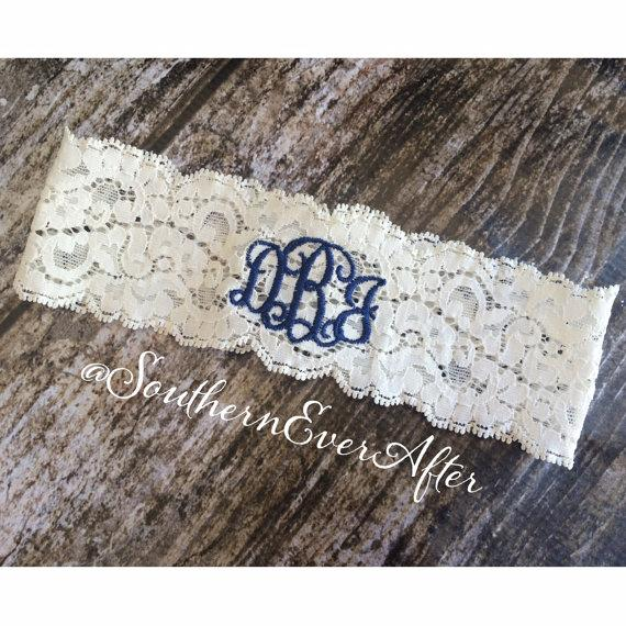 Hochzeit - MONOGRAMMED GARTER / KEEPSAKE only / Navy Blue Garter / lace garter / toss garter / Something Blue / vintage garter