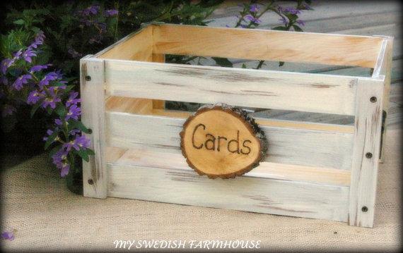 Hochzeit - Wedding Card Box Program Crate Rustic Winter Wedding Decor (YOUR COLOR CHOICE)
