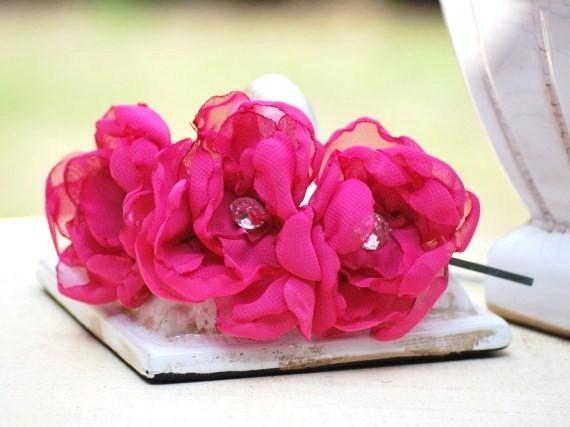 Hochzeit - Fuchsia Flowers Headband. Organza & Rhinestone Gem. Spring Summer Fashion, Hot Pink Bride Bridal Party Bridesmaid. Couture Garden Garland