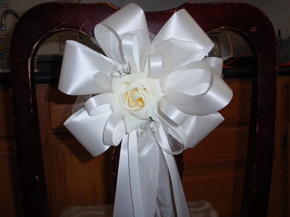 10 ivory rose pew bows wedding decorations bridal aisle arch chair