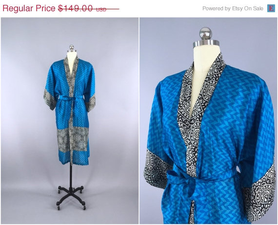 Mariage - SALE - Silk Robe Kimono / Vintage Indian Sari / Blue Chevron Print / Long Robe / Wedding Lingerie