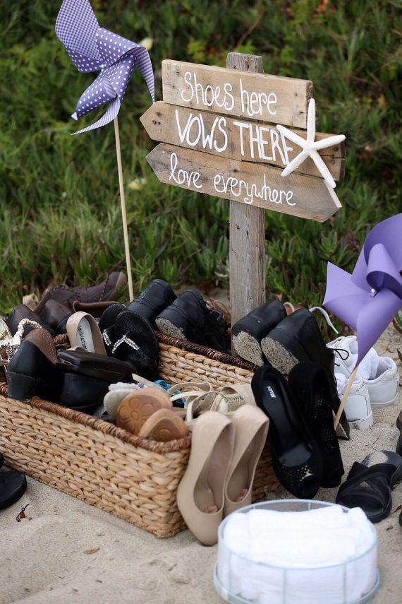 Wedding - Beach Wedding Directional Sign, Shoes Optional Sign Wood, Nautical Wedding, Sea Side Wedding, Beach Wedding Decor