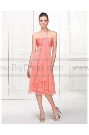 Hochzeit - Affordable Spaghetti Halter Strap Over Knee Satin Chiffon orange Prom Dress - Summer Dresses - Special Occasion