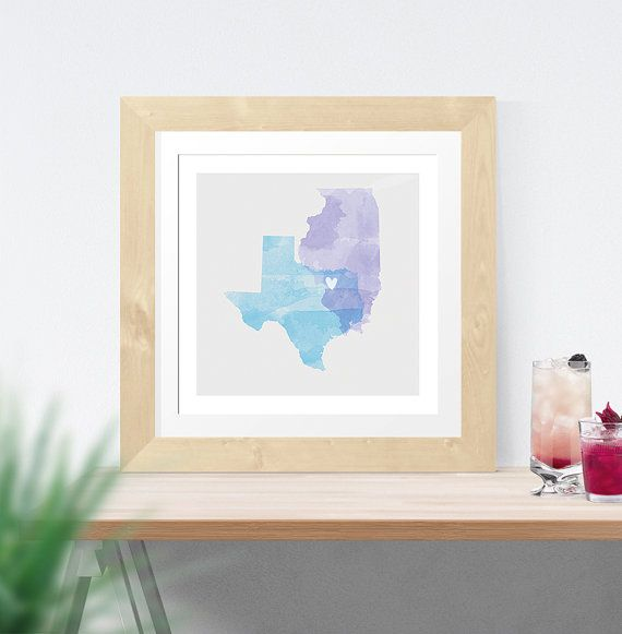 زفاف - Watercolor Two State Map Print, Guest Book, Guestbook, Art, Love, Custom, Map, Wedding Gift, Anniversary