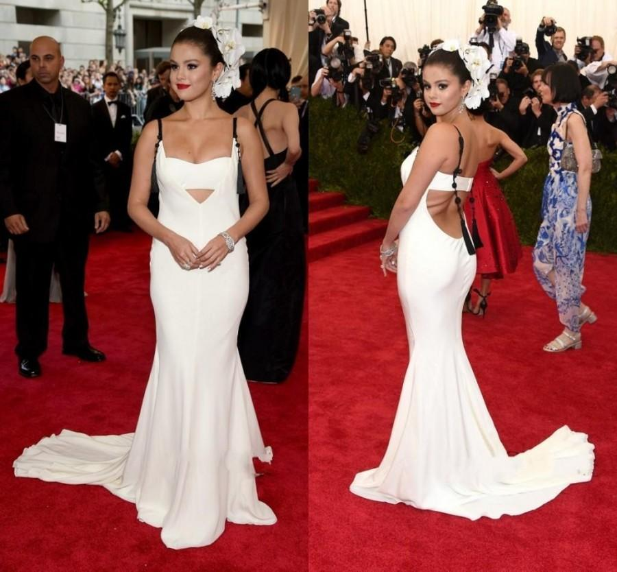 Hochzeit - Selena Gomez Met Ball Evening Dress Chiffon Backless Mermaid Sweep Spaghetti White Cheap Party Long Dress Special Occasion Dress Red Carpet Online with $120.16/Piece on Hjklp88's Store