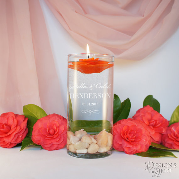 Nozze - Unity Candle Ceremony with Personalized Couple's Monogram Design Options and Optional Candle and Gift Wrap Options (Each)