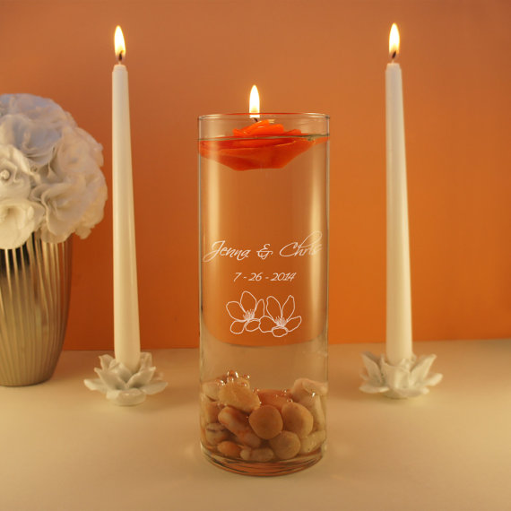 Wedding - Design's Spiritual Union Couple's Monogram Wedding Unity Candle Ceremony Candle Holder with Inspired Design Options (Candle Not Included)