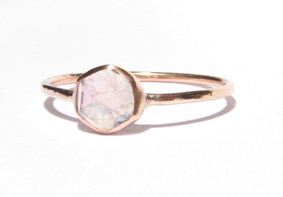 Moonstone Solid Rose Gold Ring Rose Cut Ring Stacking Ring