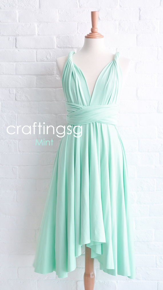 Hochzeit - Bridesmaid Dress Infinity Dress Mint Knee Length Wrap Convertible Dress Wedding Dress