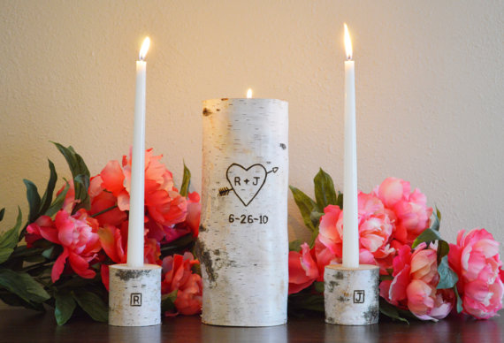 Hochzeit - Unity Candle, Custom Bride & Groom Wedding Monogram Initial Unity Candle, Personalized Unity Birch Candle Holder Set with Wedding Date