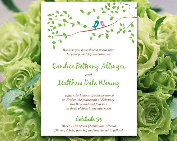 Свадьба - Whimsy Love Birds Wedding Invitation Microsoft Word Template