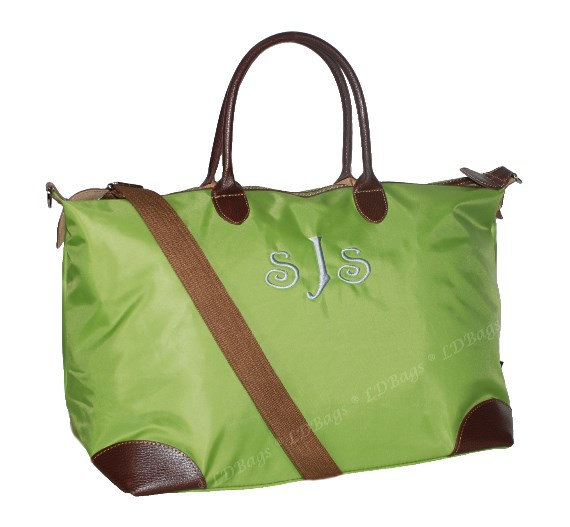 Свадьба - Classic Collection Weekender Overnight Bag, Monogrammed Tote Bag, Bridesmaid Tote, Nylon Tote Bag, Lime Green Tote Bag Single Pocket