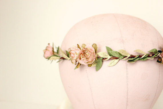 Свадьба - Pink Gold Rose Floral Crown, flower crown, Woodland, spring, Bridal flower crown, floral, Hair Accessories, Bridal Headpiece, wedding