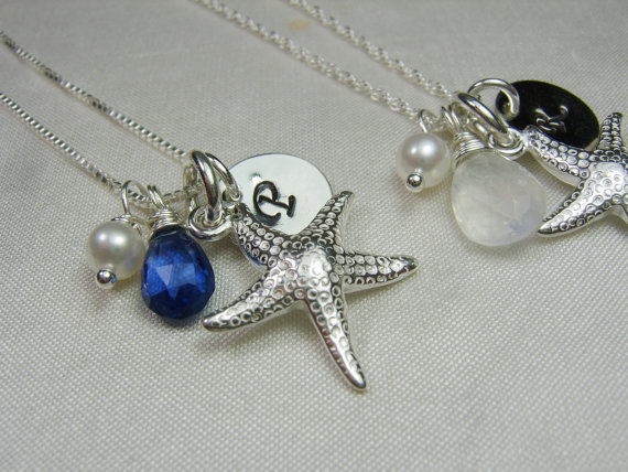 Mariage - Beach Initial Necklace - Gemstone Pearl Starfish Necklace - Personalized Necklace - Beach Wedding Jewelry