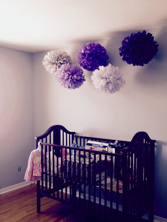 5 nursery pompoms hanging tissue paper flower balls for Room decor ideas with paper
