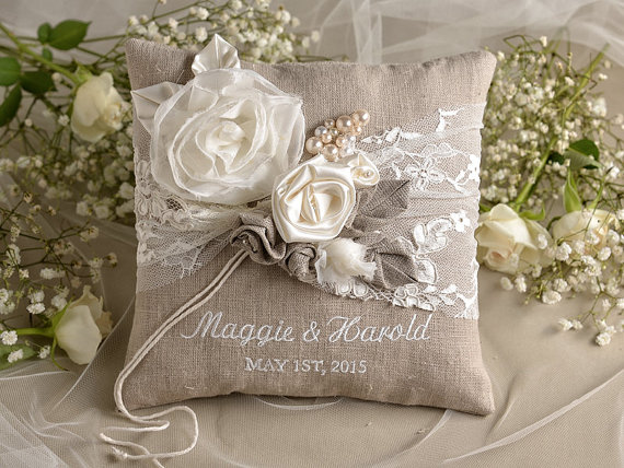 Shabby Chic Linen Pillows : Natural Linen Wedding Pillow, Ring Bearer Pillow Embroidery Names, Shabby Chic Burlap #2294689 ...