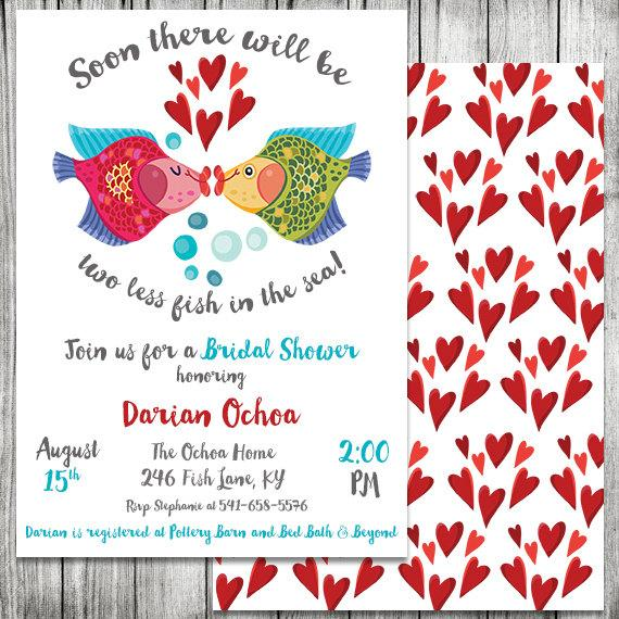 Свадьба - Two Less Fish in the Sea Bridal Shower Invite - Engagement Party Invitation - 5x7 JPG (Front and Back Design)