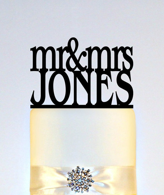 """Hochzeit - Wedding Cake Topper Or Sign Monogram  personalized with """"Mr & Mrs"""" and YOUR Last Name"""