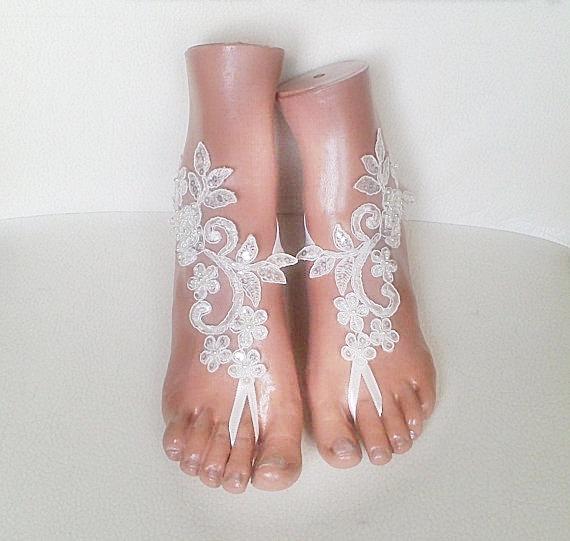 Wedding - Free rush ship white Beach wedding barefoot sandals shoes prom party bangle beach anklets bangles bridal bride bridesmaid