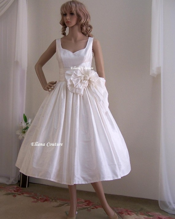 Magnolia vintage inspired wedding dress tea length for Retro tea length wedding dress