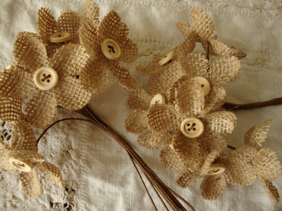 burlap flower bouquets fabric with button centers rustic