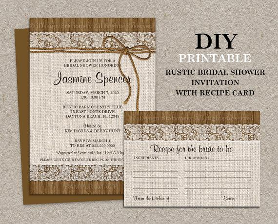 Свадьба - DIY Printable Rustic Bridal Shower Invitation With Recipe Card, Burlap And Lace Bridal Shower Recipe Cards