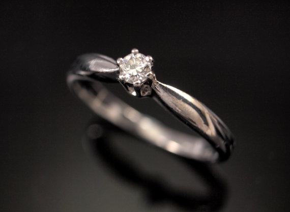 زفاف - Vintage White Gold Diamond Ring - Solitaire Engagement Ring