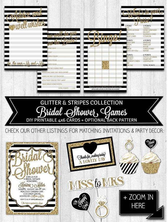 instant download bridal shower games black gold glitter black white shower activities bridal shower advice card digital printable file