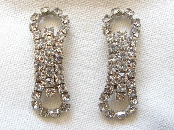 Mariage - Vintage Rhinestone Shoe Clips for Bride Wedding